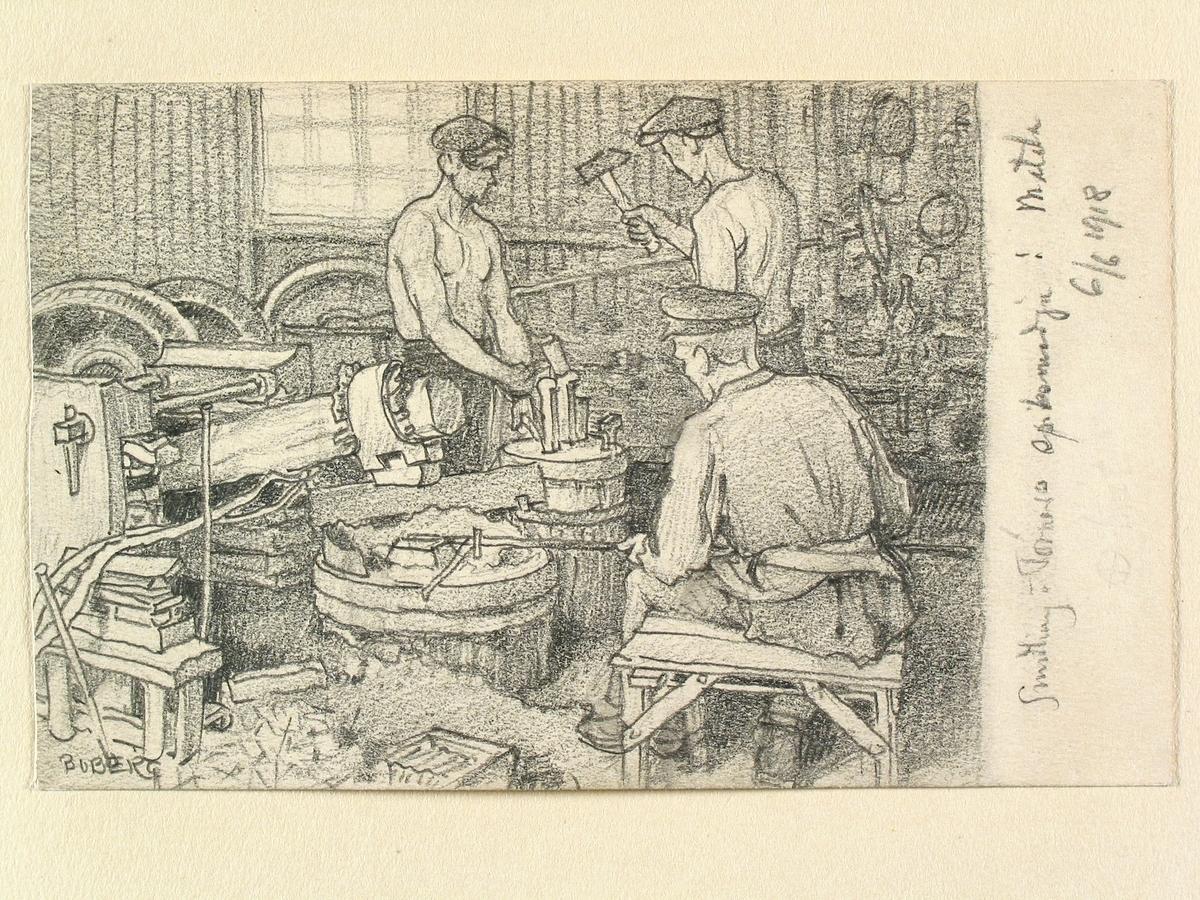 Teckning av Ferdinand Boberg. Motala, Sundling o Törners? spiksmedja.