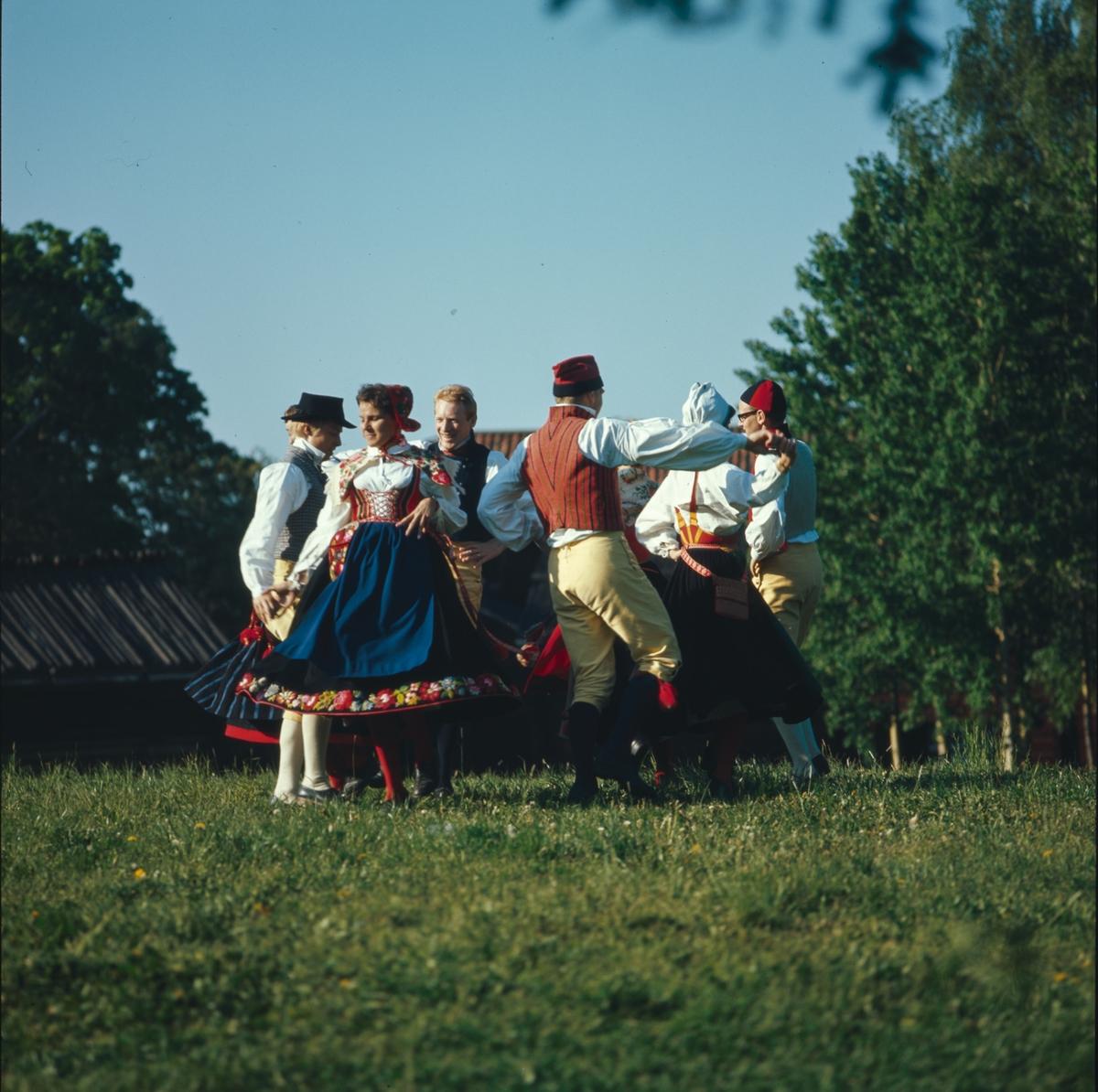 Ett folkdanslag dansar på Tingsvallens gräsplan.