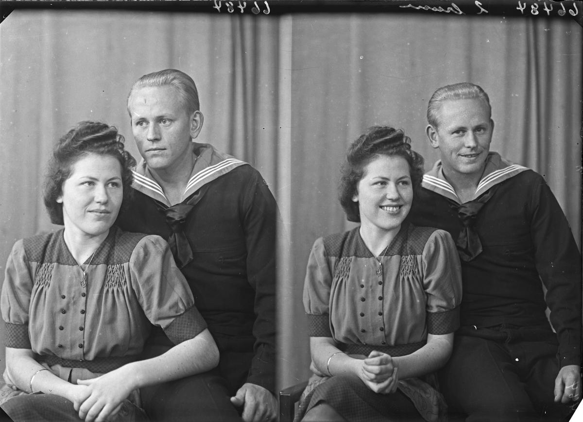 Portrett. Ung kvinne og ung mann. Mannen i uniform. Bestillt av Henry Hauge. Asalvikveien. 20