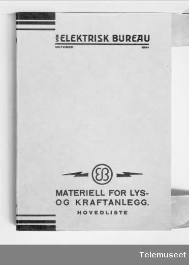 Katalog for installasjonsmateriell oktober 1934, forside, Elektrisk Bureau.