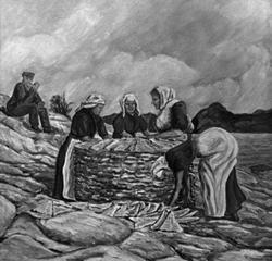 Maleri av fire kvinner som stabler klippfisk på bergene i Kr