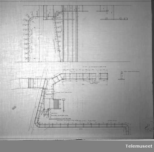 Tegning av telefonsentral, Stavanger sept 1914. Elektrisk Bureau.