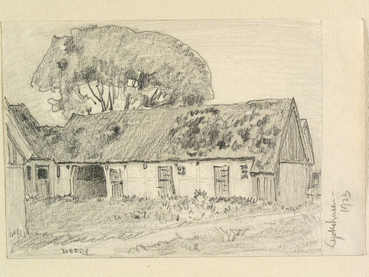 Skåne, Harjagers hd., Löddeköpinge sn., Lyckehusen. Teckning av Ferdinand Boberg