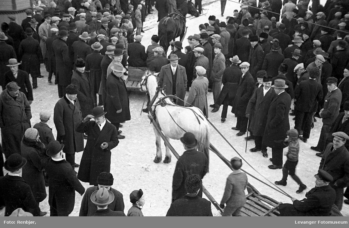 Sammenstimling ved meierihjørnet, det ser ut som det skal kjøres på isen med hest, kanskje konkurrere.