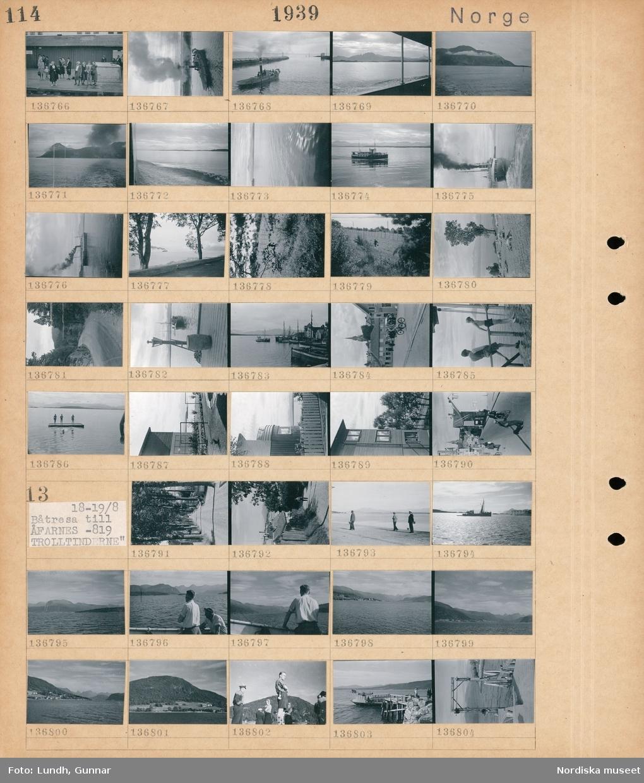 Motiv: Norge, Trondheim, Munkholmen, Molde; Människor står på en kaj, ett fartyg på vattnet, landskapsvy med klippor och hav, landskapsvy med väg och skog, en hamn med båtar, stadsvy med fotgängare och cyklist, pojkar på en badflotte, exteriör av hus.  Motiv: Norge, Båtresa till Åfarnes -819, Trolltinderne; En allé, vy över bebyggelse, människor på en kaj, ett fartyg på havet, landskapsvy med klippor och hav, ett fartyg vid en brygga.