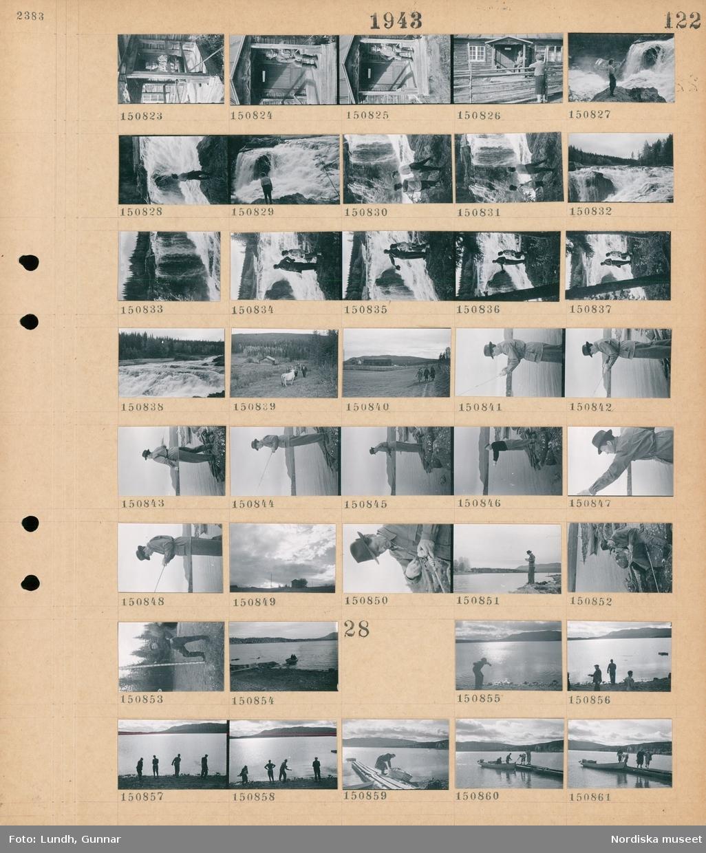 Motiv: (ingen anteckning) ; En man sitter på en veranda, en kvinna står vid en fors, landskapsvy med en fors och skog, en man och en kvinna står vid en fors, människor varandrar i naturen, en man fiskar vid en sjö, porträtt av en person håller en mätsticka, två personer i en båt.  Motiv: (ingen anteckning) ; Fyra personer kastar macka vid en sjö, fyra människor på en brygga vid en båt.