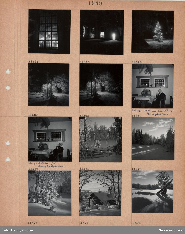 Motiv: Upplyst kyrkfönster, kyrkfasad med upplysta fönster, julgran utomhus med tänd belysning, snöig väg med tänd gatlykta, äldre man, Hugo Alfvén på Långbersgården, sitter i en stol och tänder en pipa, radio på bord, ljusstakar med tända ljus, trägärdsgård i snö, snöigt fält omgivet av höga träd, snöiga träd, timmerhus i snö, skorsten, hopsamlade hässjestörar lutade mot ett träd i snö, skidspår(?).