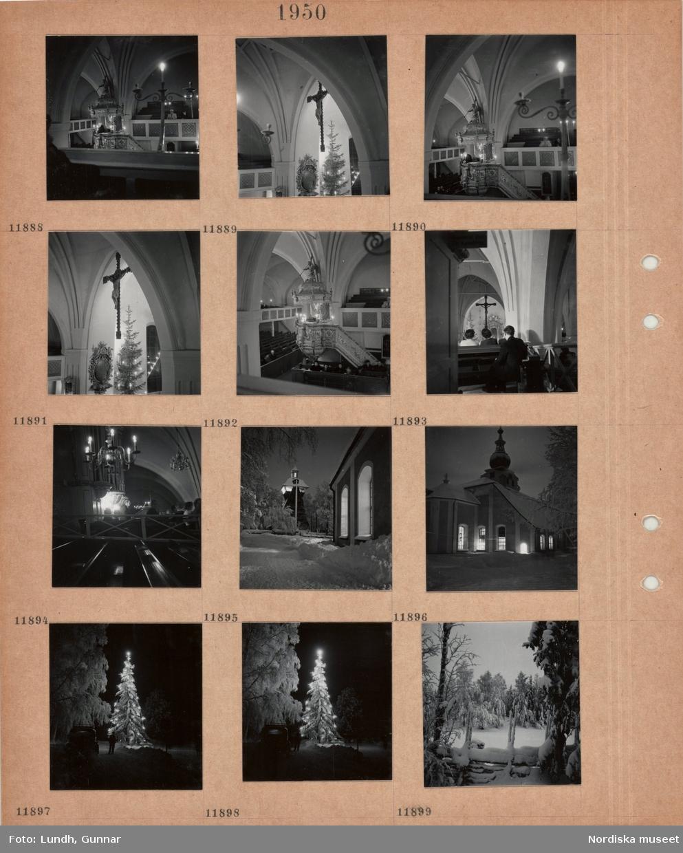 Motiv: Interiör Leksands kyrka, präst i predikstol, valv med krucifix, julgran med tänd belysning, orgelläktare, exteriör Leksands kyrka i snö, klockstapel, hög julgran med tänd belysning vid väg, personbil, snöigt landskap med trägärdsgård.