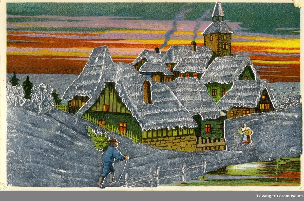 Postkort tegning av landsby, sveitsisk inspirerte hus