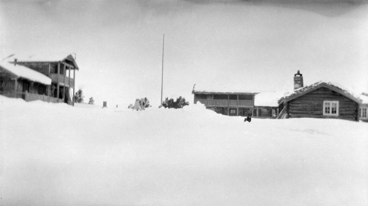 Tun, antagelig på fjellet med to toetsjes bygninger og en mindre tømmerhytte, flaggstang, mye snø
