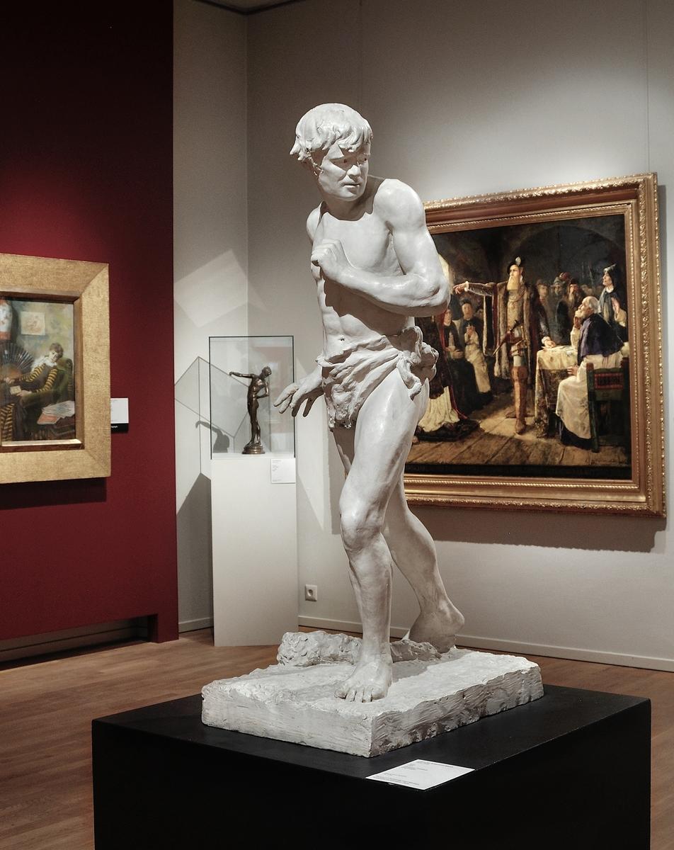 """Kat. kort: Skulptur, gips. """"Kain"""" utförd av Carolina Benedicks-Bruce, (1856-1935). Skulpturen belönad med """"Mention honorable"""" på salongen i Paris."""
