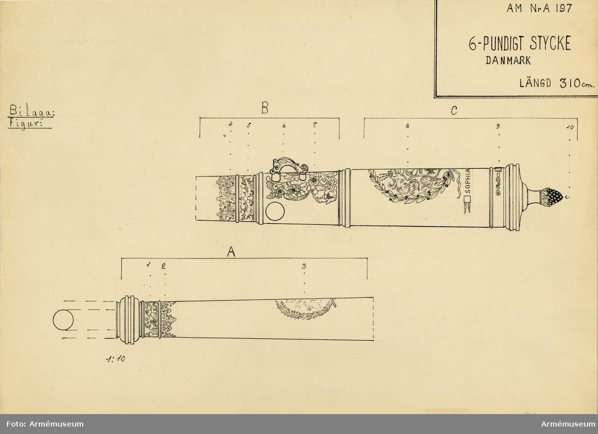 """Grupp A I.  Antagligen byte från intagandet av fästningen Glückstadt i Holstein 5/1 1814. Med hertigens av Gottorp vapen och inskrift """"Sophia Amalia"""". Med hertigens vapen å kammarstycket och samt därunder """"SOPHIA. AMALIA""""; å långa fältet en man, gående uppför ett berg, och däromkring inskriften: PER ASPERA AD ASTRA (genom mödornorna till odödligheten).  Denna kanon är sannolikt gjuten på bekostnad av Fredrik III:s gemål Sofia Amalia, när hennes dotter Fredrika Amalia år 1667 förmäldes med prins Kristian Albrekt av Holstein Gottorp.  Kaliber 9,8 cm. Loppets relativa längd är 28 kaliber.   Druvhalsen märkt """"XIII""""."""