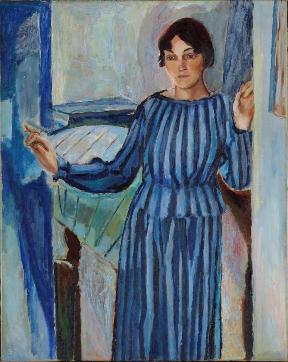 Gudrun i døren. Malerens hustru f. Cleve [Maleri]