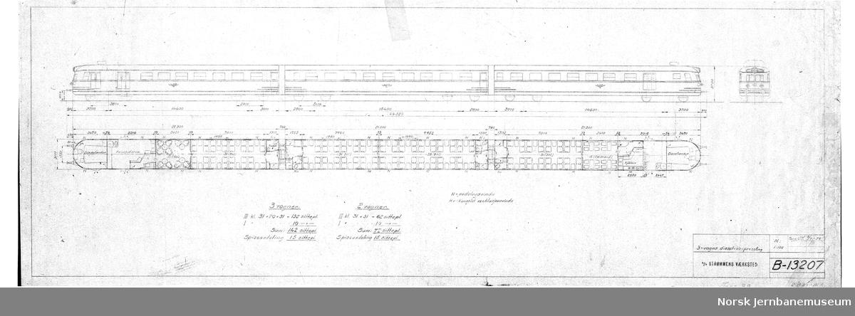 3-vogns diesel-ekspresstog. Type 88a (tidl. 108)