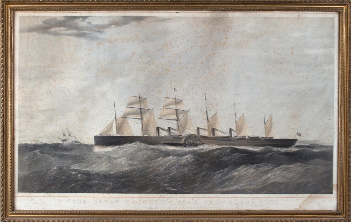 Skipsportrett av DS THE GREAT EASTERN, ført av kaptein W. Harrison. Viser skipet under fart.