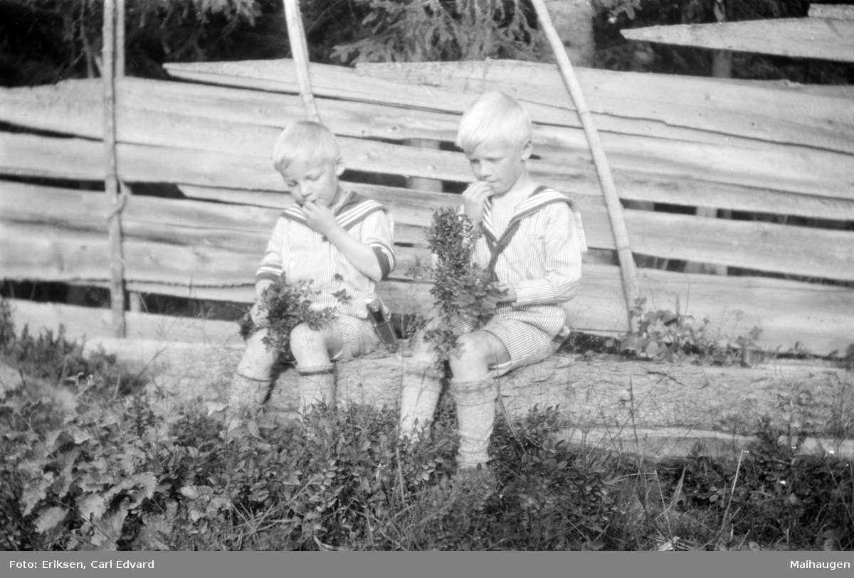 To gutter i matrosdress plukker blåbær. Ved skigard.