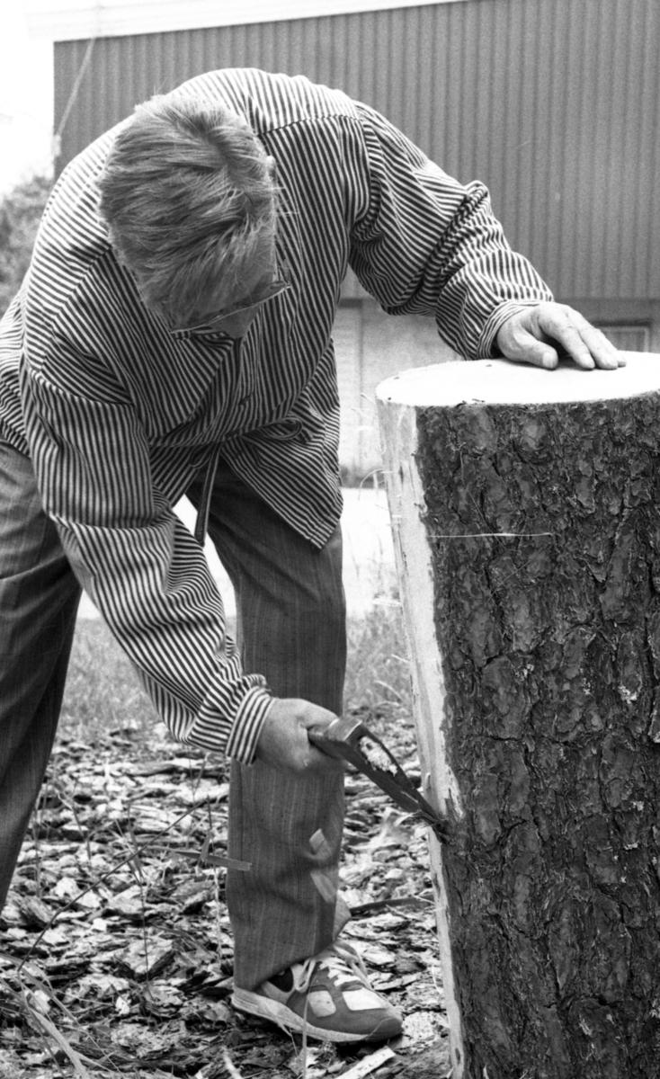 Einar Nilsen barker stokk, ved Nilsens kurvfabrikk