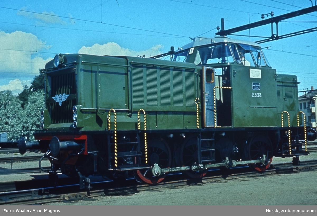 Diesellokomotiv Di 2 838 på Lillestrøm stasjon