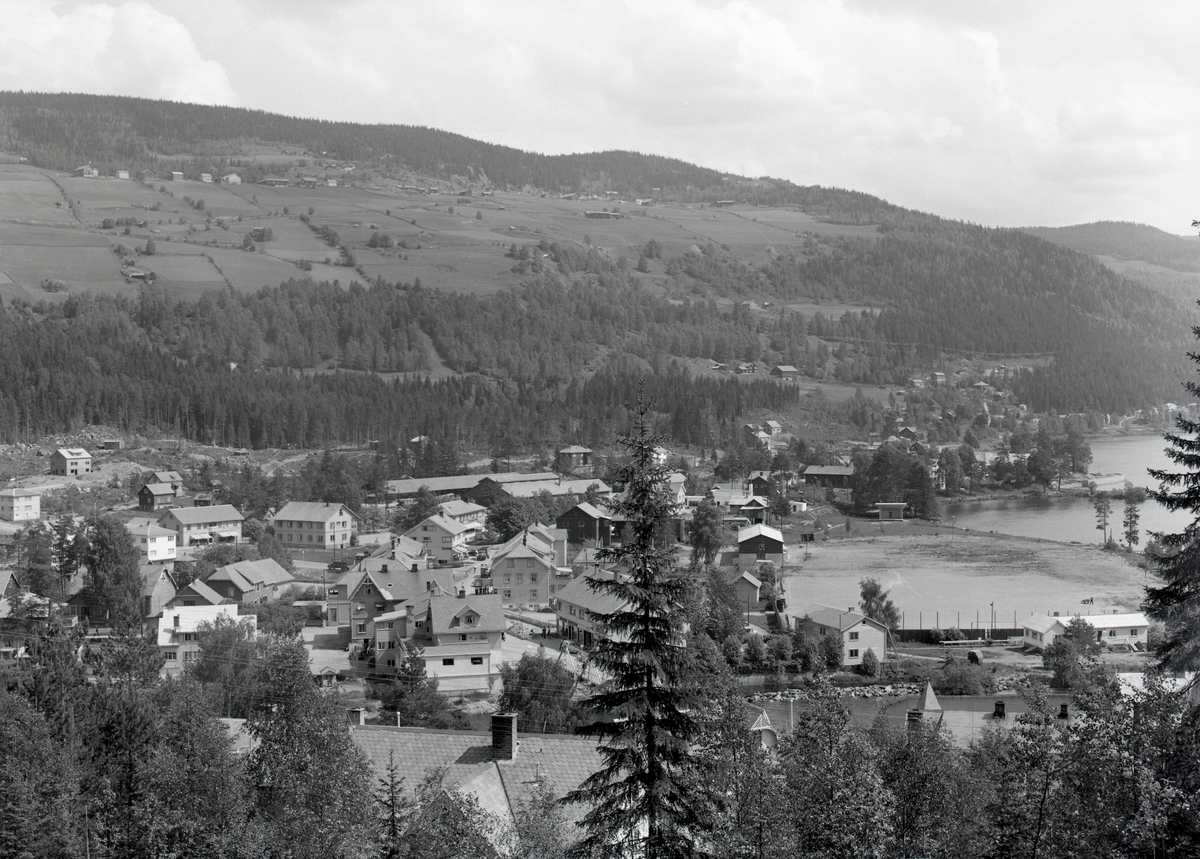 Oversiktsbilde over Fagernes. Vesleøya midt i bildet og Storøya til venstre.