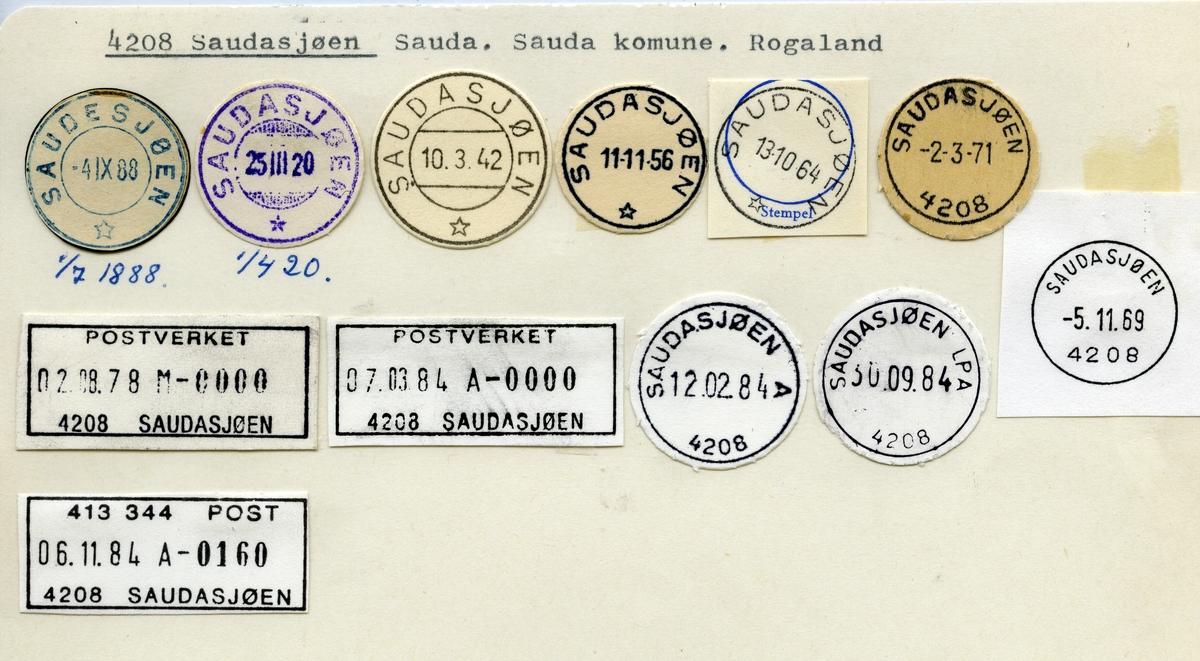 Stempelkatalog  4208 Saudasjøen, Sauda kommune, Rogaland