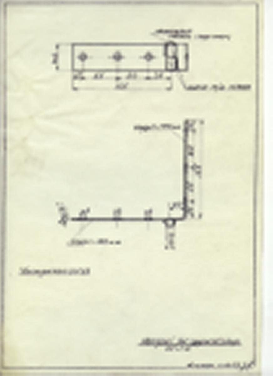 Håndskrevet arbeidstegning hengsel til apparatskap. Utarbeidet på Krossen 1973.