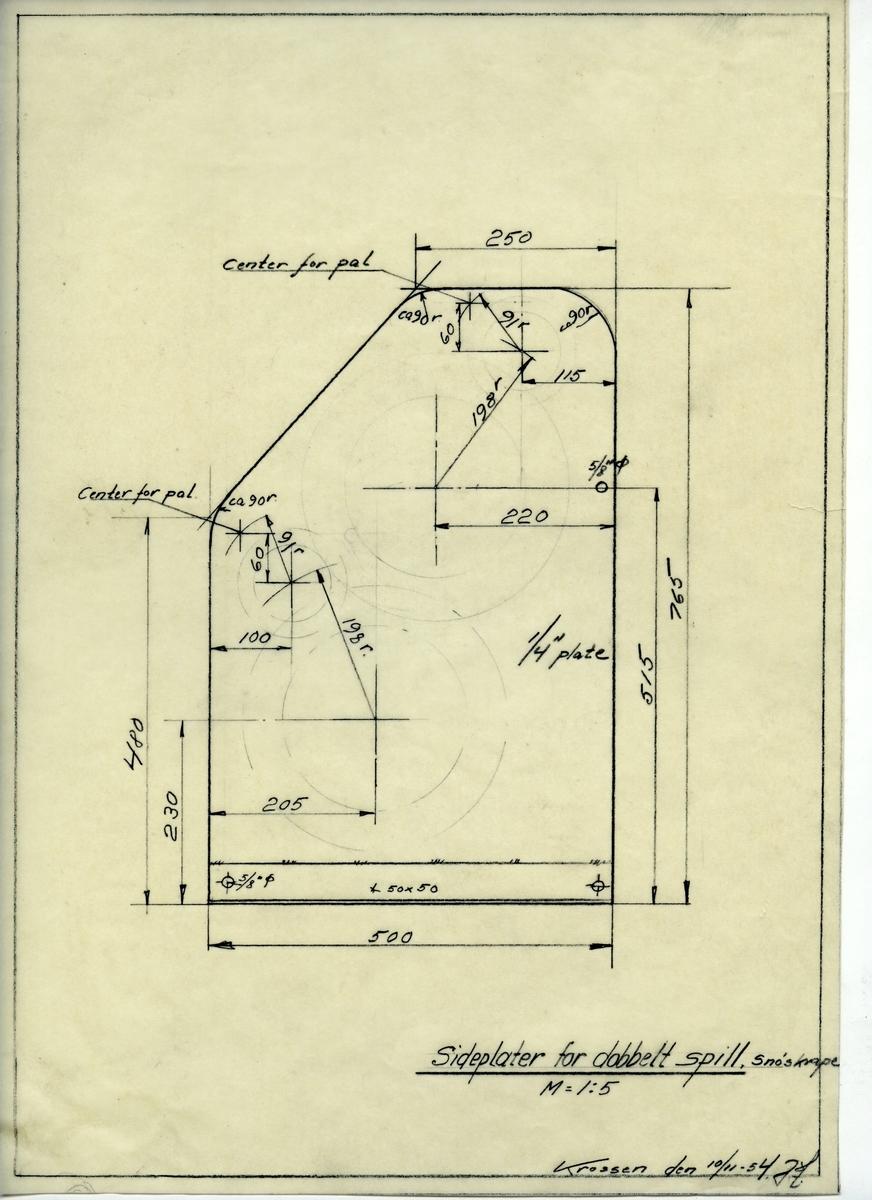 Håndtegnet arbeidstegning for sideplater for dobbelt spill, snøskrape. Utarbedet på Krossen i 1954.