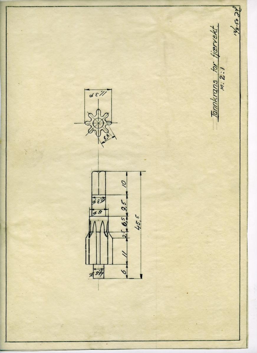Håndtegnet arbeidstegning for tannkrans til fjærvekt, utarbeidet ved Krossen i 1950.