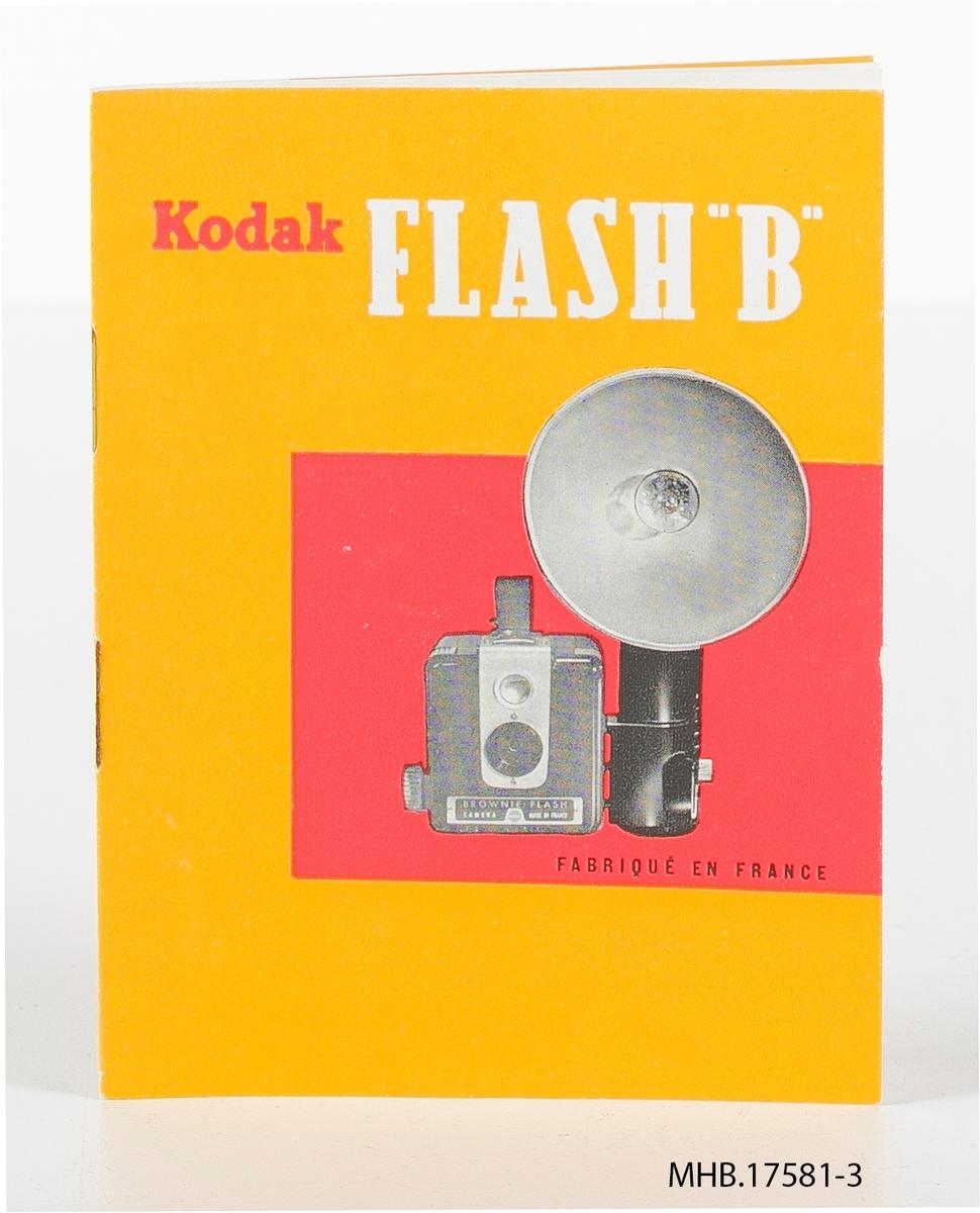 Veiledning til Kodak Flash B blitz. Produksjonssted: Frankrike.