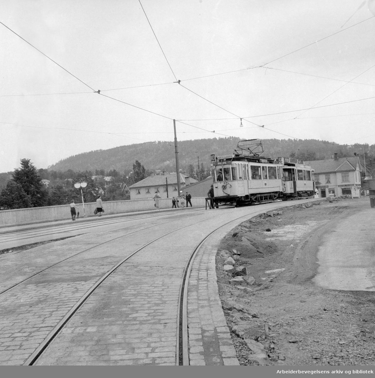 Storoveien utvides. Juli 1956
