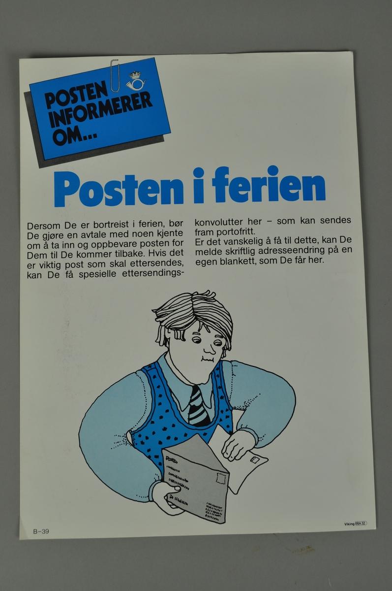 Informasjonsplakat. Rektangulær plakat med tekst og bilde. Lys bakrunn med  tekstfelt med flere skriftfarger.