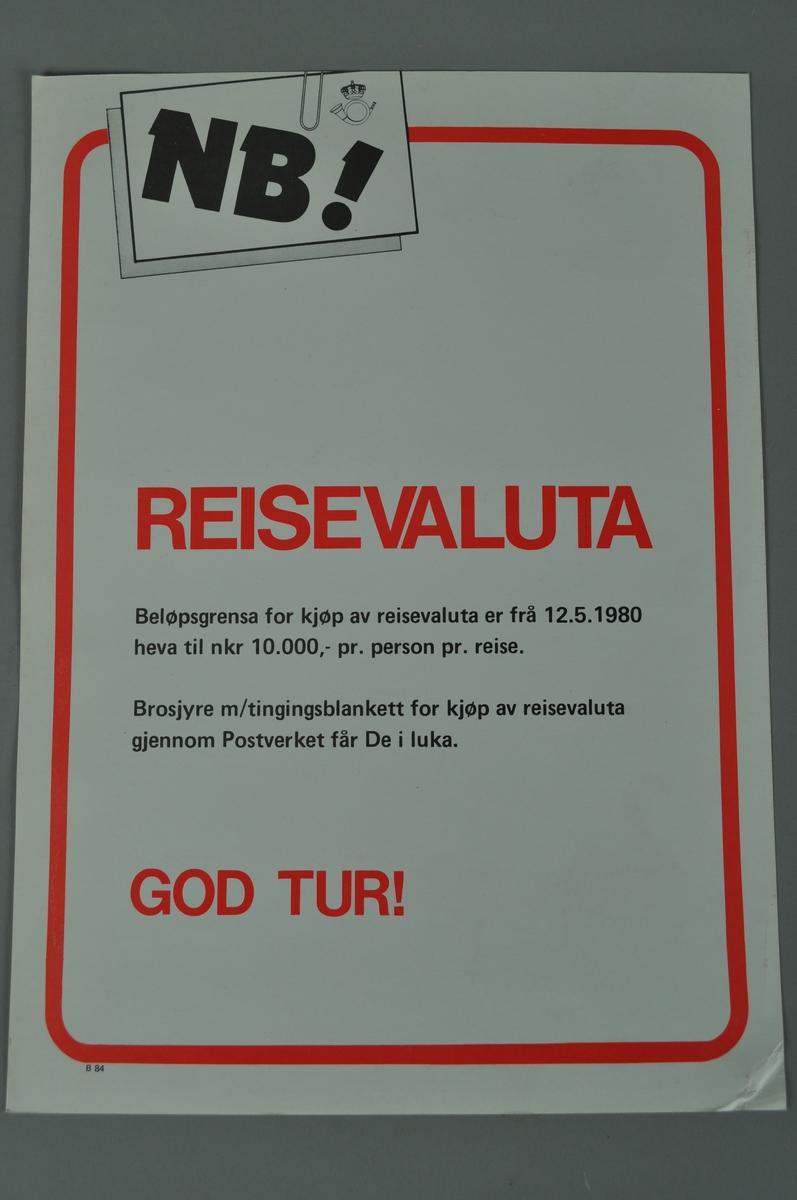 Salgsplakat. Rektangulær plakat  med lys bagrunn og rød ramme. Tekst i rødt og svart.