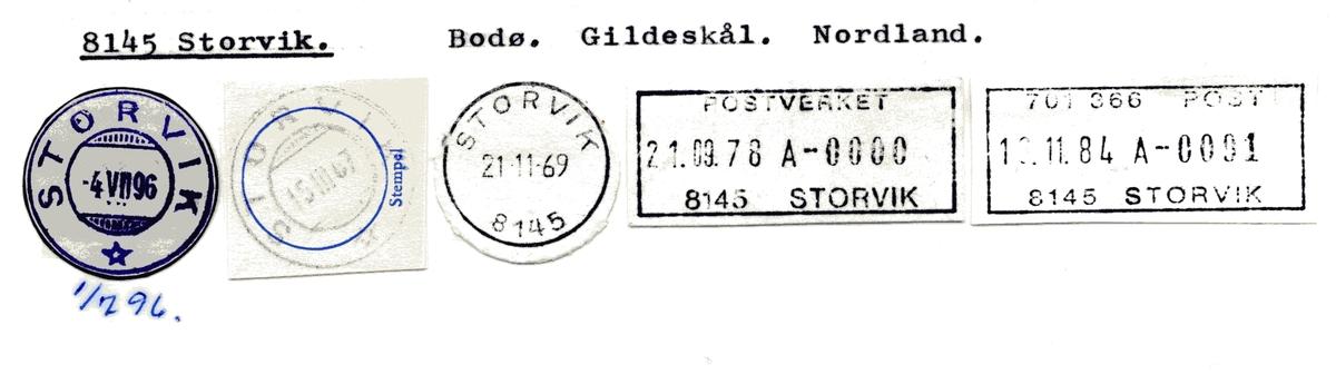 Stempelkatalog 8145 Storvik, Bodø, Gildeskål, Nordland