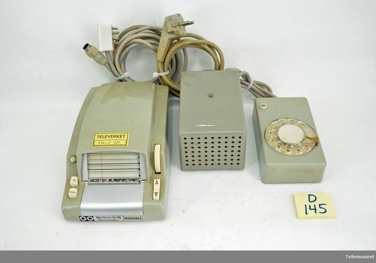 Magicall E-2, med II nr. skiveenhet-normalskive D-2, III strømforsyning (EB) H