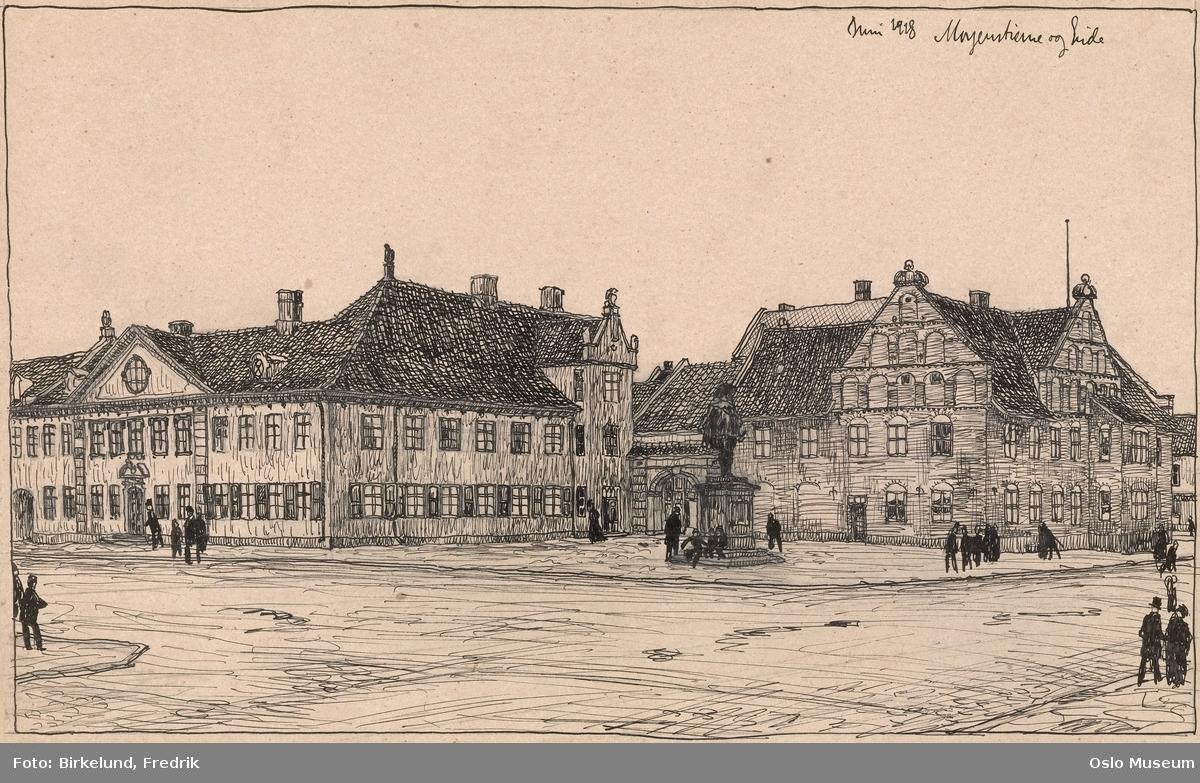 Utkast til Byens gamle torg med Collettgården