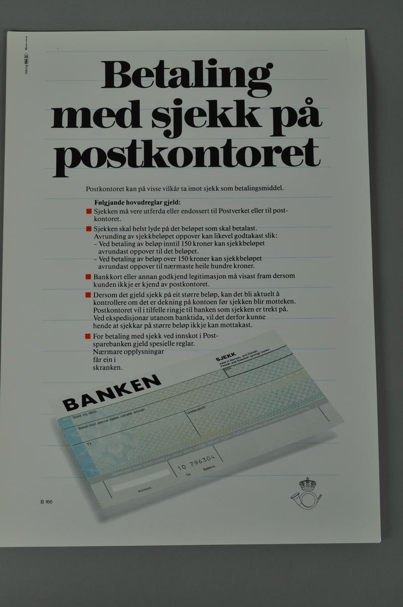 Informasjonsplakat: Betaling med sjekk på postkontoret. Bokmål og nynorsk.