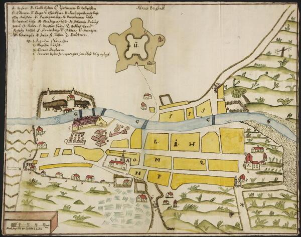 Kart Røros Bergstad 1711. Foto/Photo