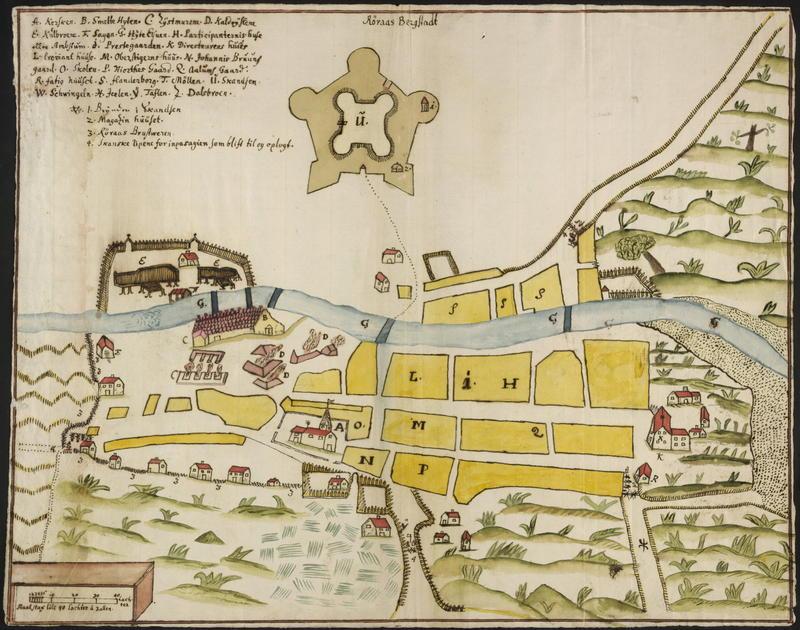 Kart Røros Bergstad 1711