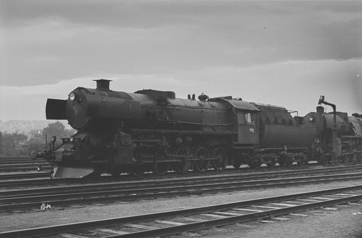 Hensatt damplokomotiv type 63a nr. 217 på Marienborg ved Trondheim.