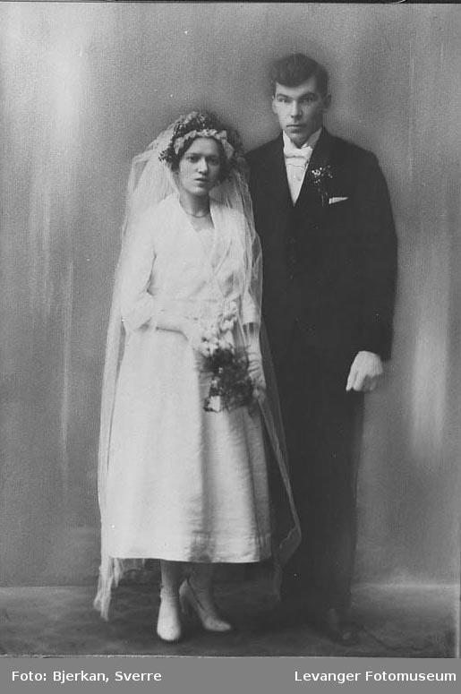 Portrett av et brudepar. Etternavnet er Linde fornavn ukjent