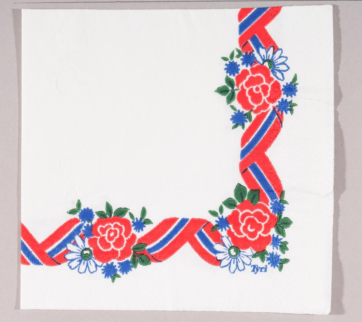 Et bølget bånd i rødt, hvitt og blått med buketter med røde, hvit og blå blomster.