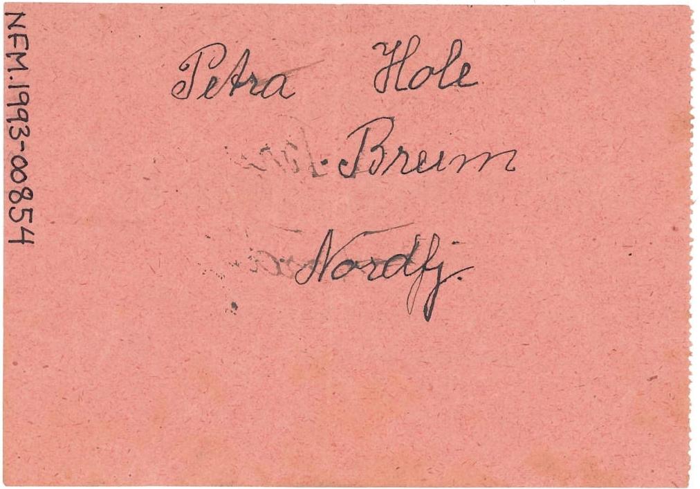 Loddsetel  i eit lotteri til inntekt for Nordfjord Folkemuseum. Rosa papirsetel med trykt skrift. Nummerert. Rektangelform. Venstre marg takka etter avriving frå loddblokk.