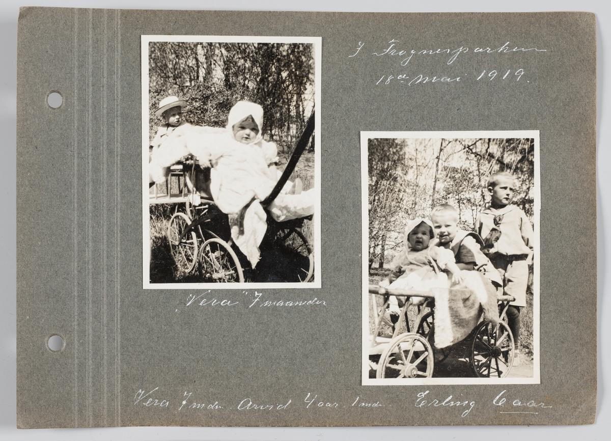Bilde til venstre: Vera Kristine Holck f. Michelsen, 7 mnd, i Frognerparken 18.mai 1919. Bilde til høyre:  Vera Kristine Holck f. Michelsen, Arvid Michelsen, Erling Michelsen