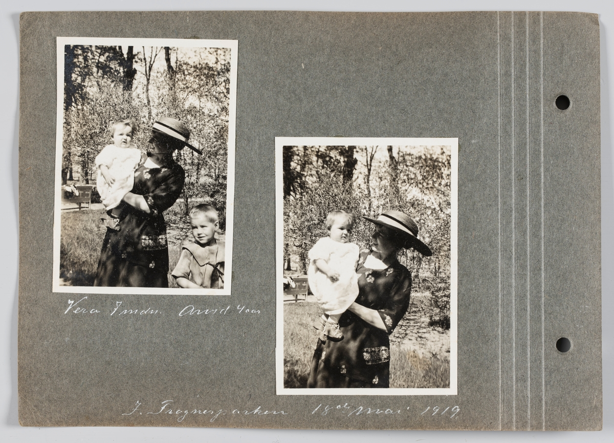 Bilde til venstre: Amy Michelsen med datteren Vera på armen og sønn Arvid ved siden. Bilde til høyre: Amy og datter Vera. Begge bilder tatt i Frognerparken 19.mai 1919