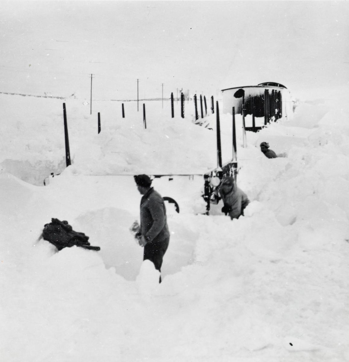 Toget fra Mo i Rana til Lønsdal har kjørt seg fast i snøen på Saltfjellet. Jernbanepersonalet arbeider med å spa løs toget.