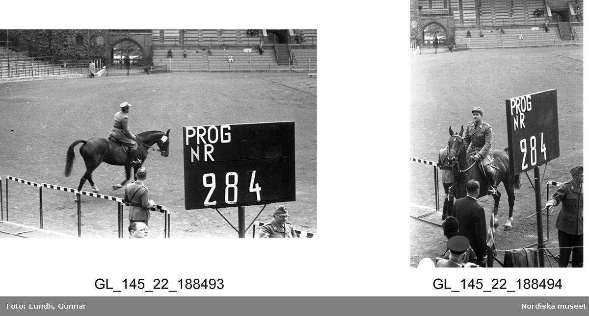 """Motiv: (ingen anteckning, tidigare ej kopierat) ; En ryttare till häst vid ingången till Stockholms stadion i samband med Ryttarolympiaden, vy över publiken och män i uniform, en man i uniform öppnad en bildörr för kvinnor som  står vid bilen, en kvinna och en man i uniform, ryttartävlingar på Stockholms stadion i samband med Ryttarolympiaden, en kvinna i ryttarkläder står vid en bil.  Motiv: (ingen anteckning) ; En häst med nummerlapp, ryttare till häst, en hästtävling inför publik på en arena, människor går på kajen vid ett förankrat örlogsfartyg """"821"""", en man sätter upp en affisch i ett skyltskåp med text """"Leksands missionsförsamling"""", en ambulans, en flaggstång med svenska flaggan vid ett hus, en person hissar svenska flaggan."""