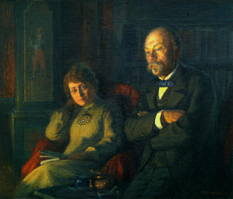 Ekteparet Hulda og Arne Garborg. Oljemaleri av Otto Valstad fra 1905. (Foto/Photo)
