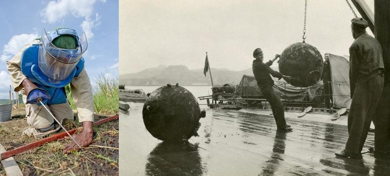 Mineryddere i aksjon. Til venstre minerydder med verktøy, blå vest og hjelm med visir, til høyre svart-hvitt foto av to mineryddere på kaia og to store miner.