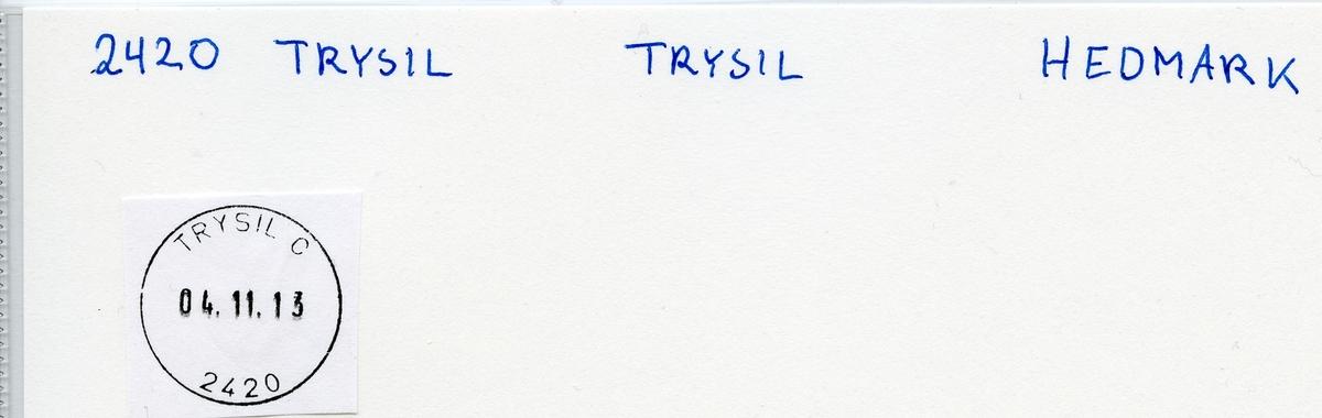 Stempelkatalog 2420 Trysil, Elverum, Hedmark