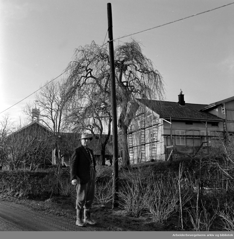 Nordstrand: Boligbygging skal sikres tomter i Søndre Nordstrand. Eiendommen Loftsrud er en av de eiendommer som omfattes av ekspropriasjonsvedtaket..November 1966