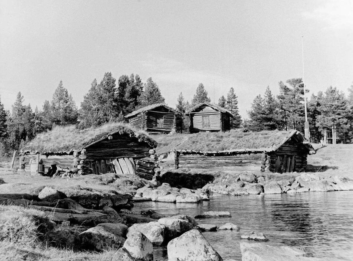 Naust og kjell på Fiskevollen ved Sølensjøen i Øvre Rendalen i Hedmark.  Fotografiet er tatt fra stranda, med naustene nærmest og kjellene på bakkekammen ovenfor.  Fiskevollen er et innlandsfiskevær, som sannsynligvis ble plassert i denne vika i den nordvestre enden av den nevnte innsjøen fordi denne lokaliteten var relativt godt skjermet for vind.  Fiskevollen ligger om lag tre mil øst for bygda og de gardene som hadde fiskerett der.  Fram til 1914 var stedet vegløst, og varetransport skjedde med kløvhester.  Følgelig var det nødvendig for de fiskeberettigete å ha hus der utstyr som ble brukt i fiskesesongene kunne oppbevares fra år til år.  Det fantes fra gammelt av tre typer bygninger på Fiskevollen: Naust, kjeller og buer.  Det tradisjonelle bygningsvirket her var malment furutømmer fra Sølendalen.  Lafting var lenge den enerådende byggeteknikken, og takene ble tekket med torv og never, slik vi ser det på dette fotografiet.  Ifølge tradisjonen skal naust ha vært den første hustypen lotteierne reiste.  Dette var bygninger med rektangulært grunnplan, uten andre veggåpninger enn en lav, men forholdsvis bred port i den gavlveggen som vendte mot strandlinja.    Innvendig var det jordgolv, vanligvis med noen kavlestokker.  Bygningstypen var vanligvis seks-sju meter lang og om lag fire meter bred.  Etter endt fiske dro lotteierne båtene sine inn i naustene, og her kunne de også oppbevare fiskeredskapen og fangstene fra høstfisket.  Mange hadde imidlertid et spesialhus som tjente som lager for fiskeredskap og fangst.  Det var denne hustypen rendølene kalte for «kjell».  Slike hus ble laftet på pilarer av stein eller tre, slik at det ble god lufting fra undersida, og slik at adkomsten for mus og andre skadedyr skulle bli vanskelig.  Kjellene skulle ha et svalt og luftig klima.  De hadde ingen andre veggåpninger enn døra, som vanligvis var plassert under et noe utkraget tak, som også på denne bygningstypen ofte var orientert mot sjøen.  En slindstokk fra raft til raft ove